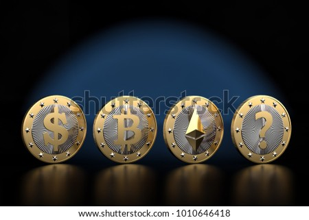 Row of Cryptocurrency Coins and a question mark - What is the next BIG thing in cryptocurrencys? - 3D Rendering