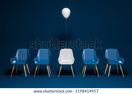 Row of dark blue chairs with a white chair and a balloon above it. Concept of choice and being unique. 3d rendering copy space