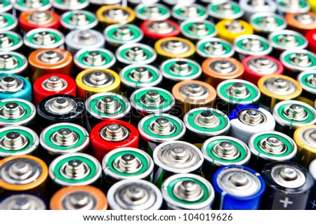 Row of different types batteries