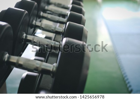 Row of dumbbells in gym. Black dumbbell set in sport fitness club center.