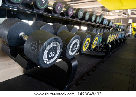Row of dumbbells in gym. Colorful dumbbell set in sport fitness club center.