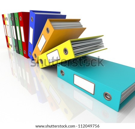 Row Of Falling Files For Getting Office Organized