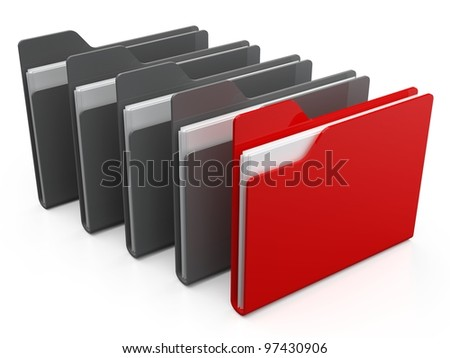 Row of folders and files.