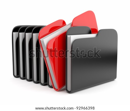 Row of folders and files. 3D illustration isolated on white background