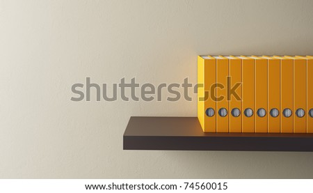 row of folders on bookshelf, 3d render
