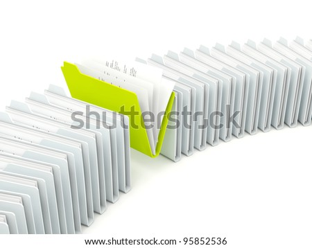 Row of folders with different green one isolated on white
