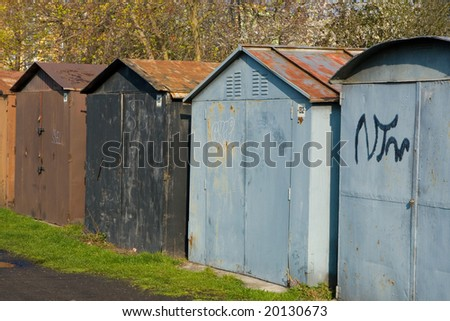 Row of garages in nature parking zone
