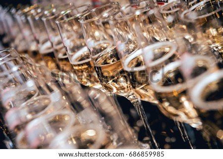 Row of glasses of wine. A restaurant. Buffet #686859985