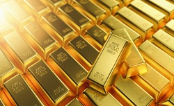 row of Gold Bars 1000 grams. Concept of wealth and reserve
