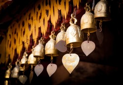 Row of golden bells in buddist temple in Chiang Mai,Thailand