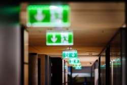 Row of green exit signs pointing to escape door in a modern office office
