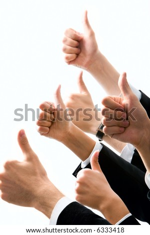 Row of  human hands showing sign of okay