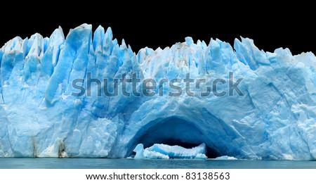 Row of icebergs isolated on black