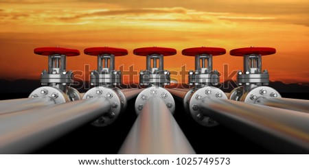 Row of iindustrial pipelines and valves with red wheels on sky at sunrise background, banner, closeup view. 3d illustration