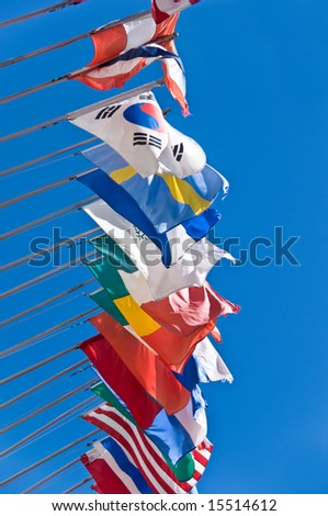 Row of international flags