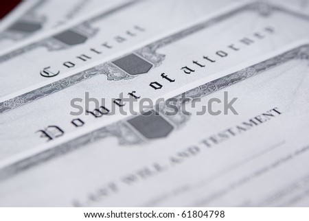 Row of legal documents for notary signing