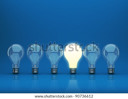 Row of light bulb 3D on blue background. Innovation concept.