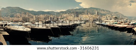Row of luxury motor yachts in Port de Fontveille Monaco
