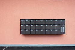 Row of Mailbox Lock Box Cabinet Embedded on Wall Building, Postbox or Mail Letterbox for Condominium Exterior, Apartment Equipment Tool Object.
