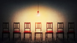 Row of many chairs and a glowing light bulb, choosing the one different colored. Difficult decision, concept of choice. Business career development, job recruitment opportunity, leadership symbol.