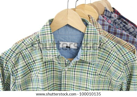 Row of Men's different colors short sleeved plaid cotton