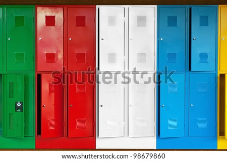 Row of metal lockers in different colors