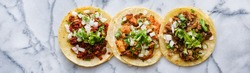 row of mexican street tacos with carne asada and al pastor in corn tortilla wide banner composition