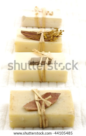 Row of nature soaps