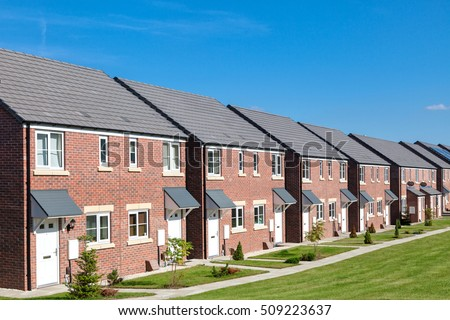 Row of new houses, England #509223637
