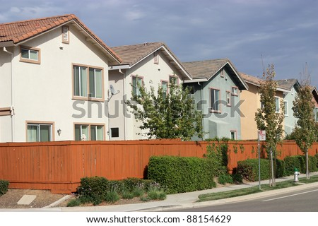 Row of new houses in suburban neighborhood