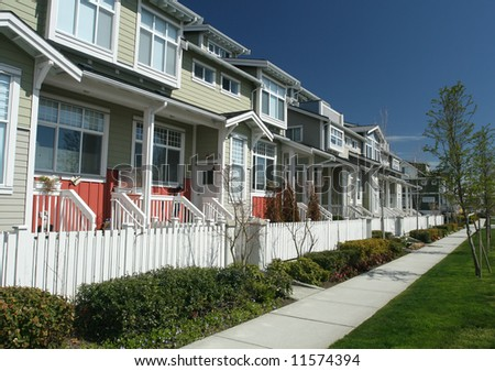 Row of New Townhouses With Porches