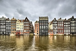 Row of old houses in Amsterdam, Netherlands