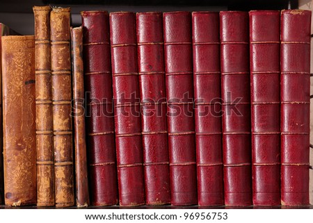 Row of old leather hardbound books on a shelf