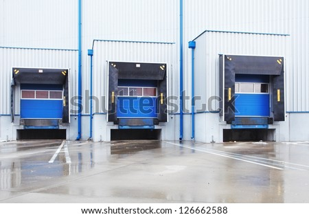 row of old loading docks - stock photo