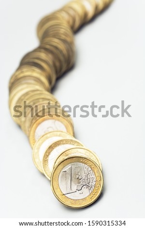 Row of One Euro coins