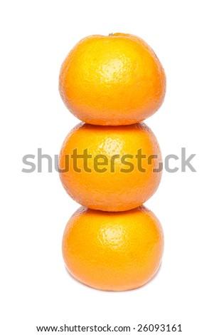Row of orange mandarins isolated on white.