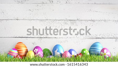 Row of painted colored easter eggs - 3D illustration stock photo