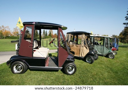 row of parked golf carts