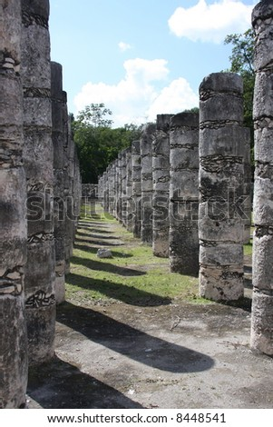 Row of posts at Chichen Itza in Mexico.