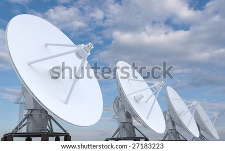 row of radars directed in sky (3d)