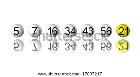 stock photo : Row of random lottery number balls with yellow bonus ...