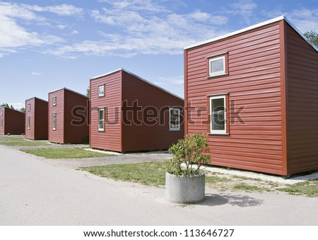 Row of red camping houses in Copenhagen