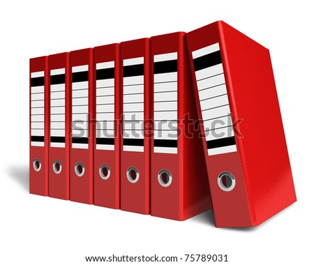 Row of red office folders