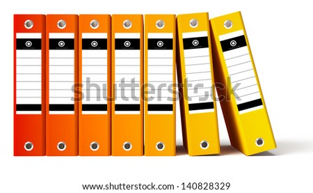 Row of red office folders, gradient red to yellow. Isolated on white background