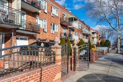 Row of Residential Buildings along the Sidewalk in Jackson Heights Queens New York