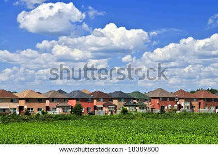 Row of residential houses in suburban neighborhood