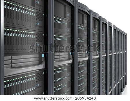 Row of server system in perspective view