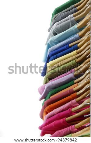Row of shirt cloth hangers in row
