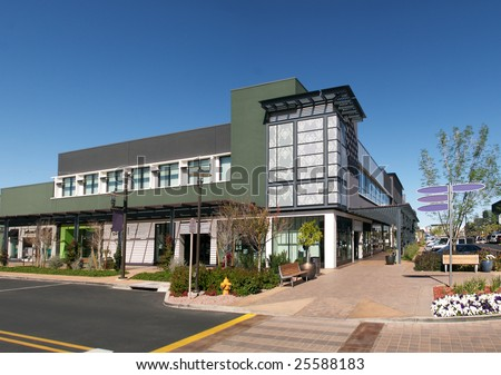 Row of shops in an new outdoor shopping mall. #25588183