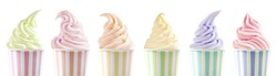 Row of six assorted ice cream flavours in differently styled twirls in colorful striped tubs isolated on white in a panorama banner or header for advertising
